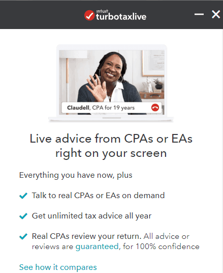 The turbotaxlive Extra Service