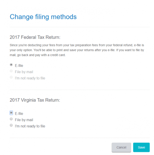 Filing Options in TurboTax