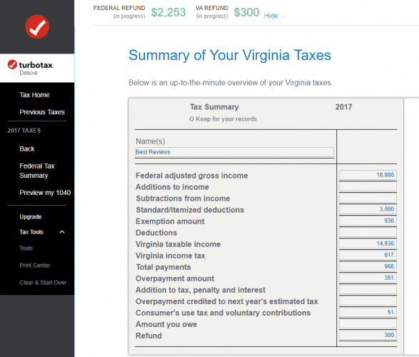 State Return Summary in Tax Tools