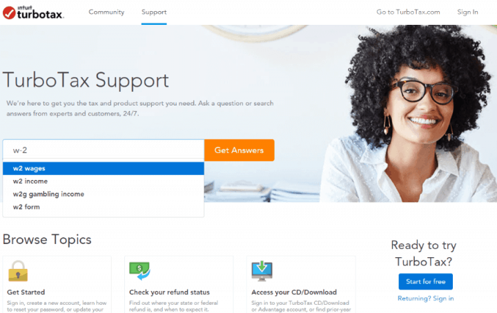 The TurboTax Support Page